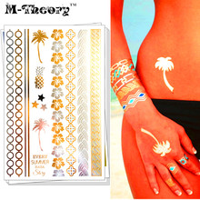 M-Theory Metallic Gold Choker Temporary 3d Makeup Tattoos Body Art Sexy Hawaii Tatuagem Flash Tatoos Sticker Bikini Makeup Tools