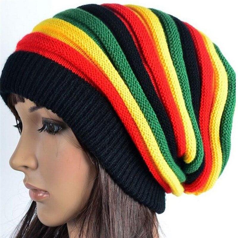 Winter Hats Knit-Cap Reggae Fall Rasta-Style Black Yellow Jamaica Green Fashion Women's