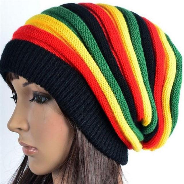 d88d1c586a9a4 Jamaica Reggae Rasta Gorro Estilo Cappello Inverno dos homens Hip Pop  Chapéus Feminino Verde Amarelo Vermelho