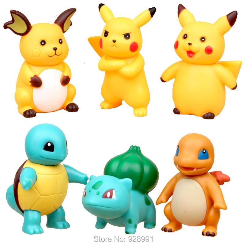 6pcs/<font><b>set</b></font> <font><b>Pokemon</b></font> Pikachu Squirtle Ivysaur <font><b>PVC</b></font> <font><b>Action</b></font> <font><b>Figures</b></font> Pokebolas Raichu Anime Figurines <font><b>Pocket</b></font> <font><b>Monster</b></font> Dolls Kids Toys