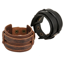 Men Women Punk Retro Wide Faux Leather Belt Bracelet Wristband Jewelry Gift