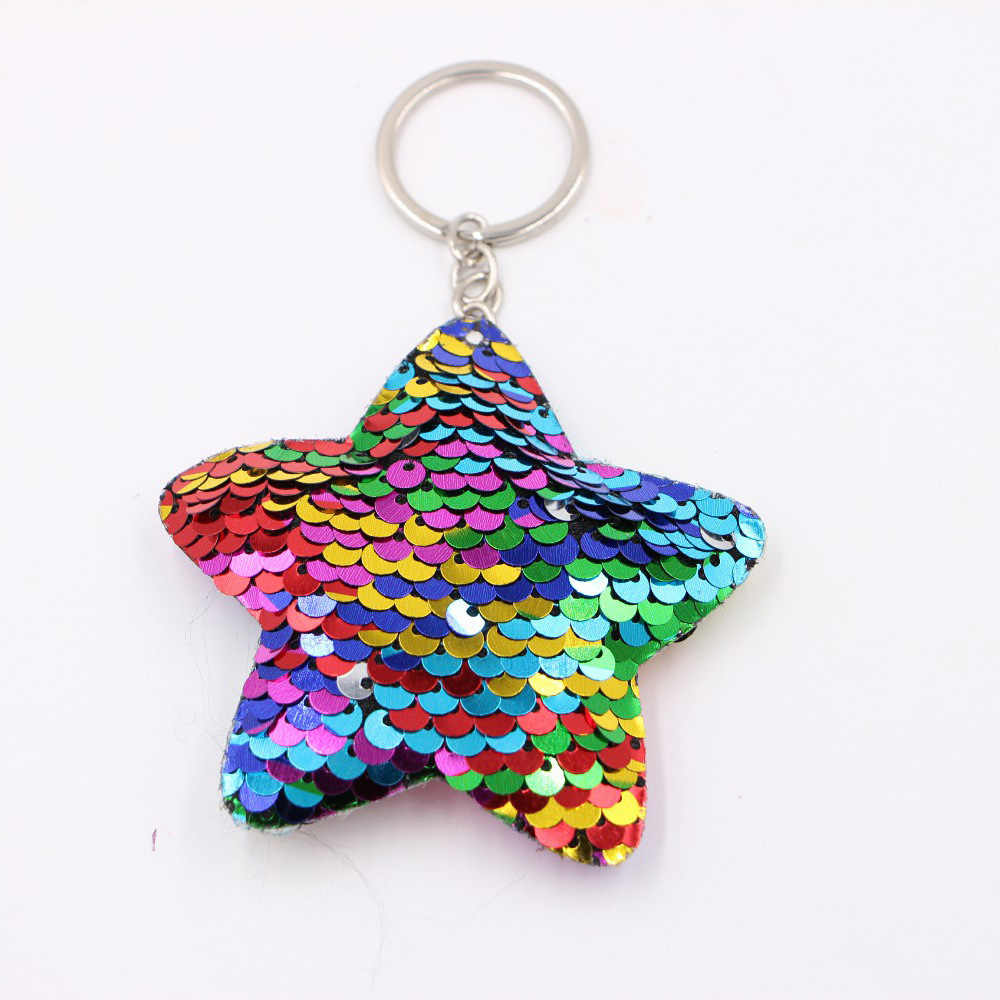 40style Cute Chaveiro Star Keychain Glitter Pompom Sequins Key Chain Gifts for Women Llaveros Mujer Car Bag Accessories Key Ring