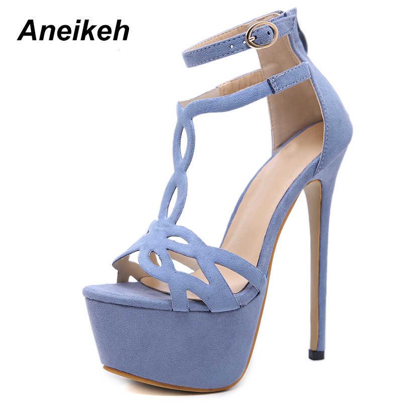 Aneikeh 2019 Yaz platform sandaletler Seksi 16 cm Kadın Sandalet Yüksek Topuklu Burnu açık Gladyatör Gece Kulübü Akın Ayakkabı Büyük Boy 34 -40