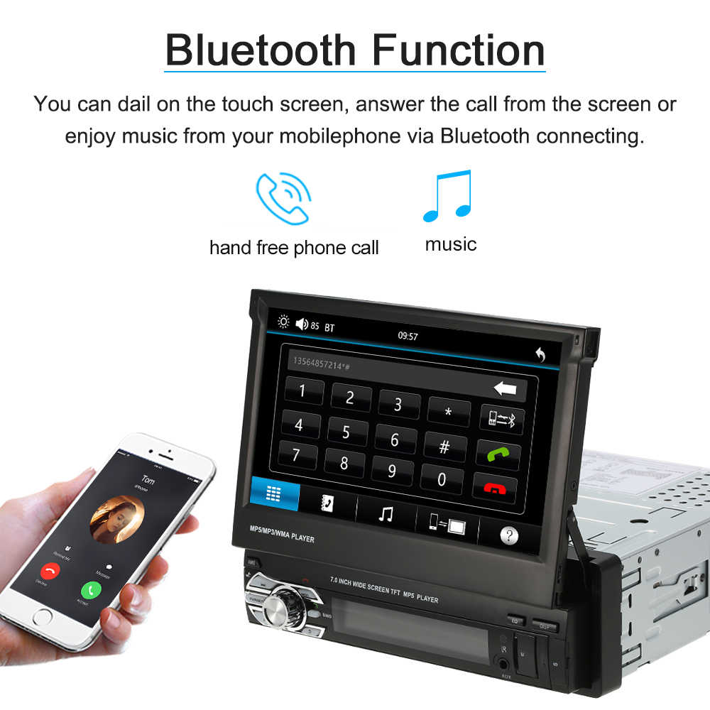 7 inch Intrekbare MP5 Speler Auto Stereo Radio Multimedia Entertainment met BT FM USB SD Voor Bmw E46 E90 tesla Model 3
