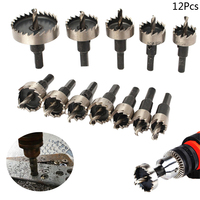 12Pcs 15 50mm HSS Drill Bit Set Holesaw Hole Saw Cutter Drilling Kit Hand Tool for Wood Stainless Steel Metal Alloy Cutting