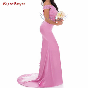 Image 2 - Off the Shoulder Lace Mermaid Bridesmaid Dress Zipper Split Tulle Train Wedding Party Gown