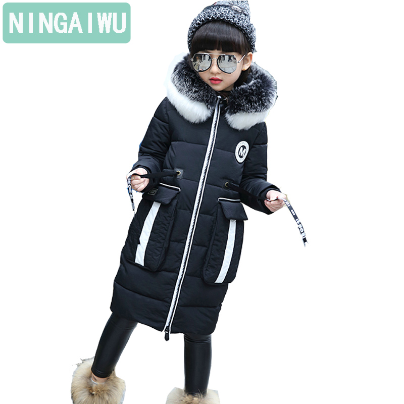 Brand Baby Girls Winter Thickening Cotton-Padded Jacket Children Fashion Warm Coat New Style Long Outerwear Kids Clothing Parka 2016 new fashion winter jacket men high quality brand thickening casual cotton padded keep warm men coat parkas 1358