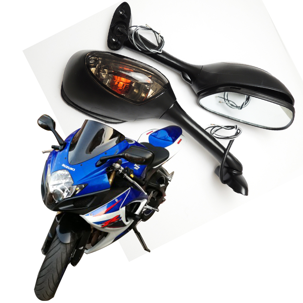 For Suzuki GSXR Motorcycle Rearview Side Mirrors for Suzuki GSXR 600 750 1000 with Turn Signal Light K6 K7 K8 mirror