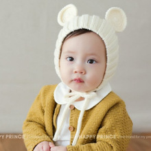 New fashion baby pom hat Boy Girl Winter Thicken warm hats for kids Cubs Ear beanie Knitted Solid cute Baby Caps
