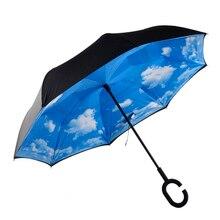 10 Farben Winddicht Faltung Doppelschicht Sonne Frauen Regen Invertiert Dach Reverse Regenschirm Selbst Stehen Wind Proof C-Haken hände