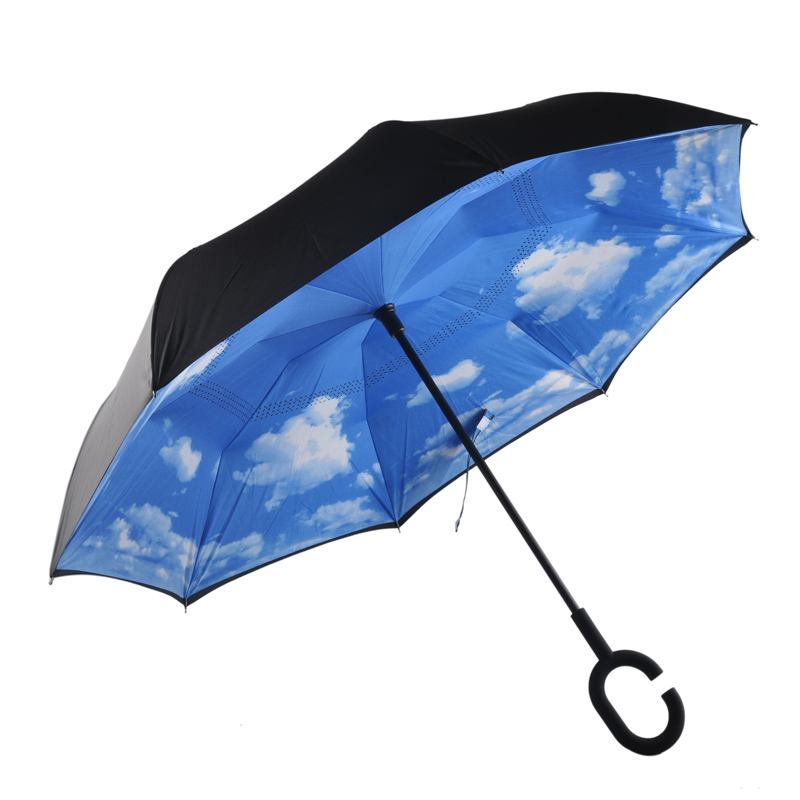 10 Colors Windproof Folding Double Layer Sun Women Rain Inverted Umbrella Reverse Umbrella Self Stand Wind Proof C-Hook Hands