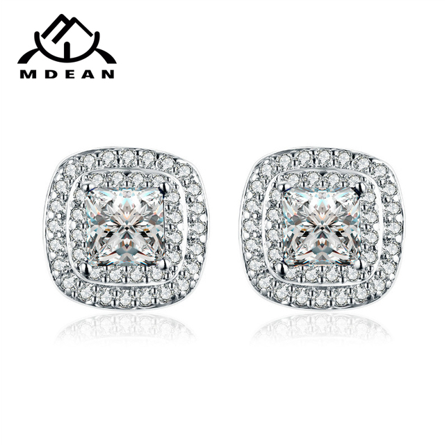 MDEAN Stud Earrings for Women White Gold Color Jewelry Blue AAA Zircon Engagement Boucle D'oreille Wedding Brincos A092