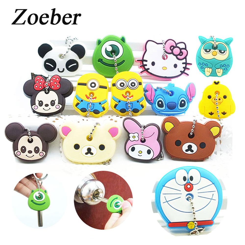 ZOEBER 2PCS cute Anime Cartoon Key chain Silicone key cover key cap women hello kitty minions Minnie Mickey Ring car Keychain