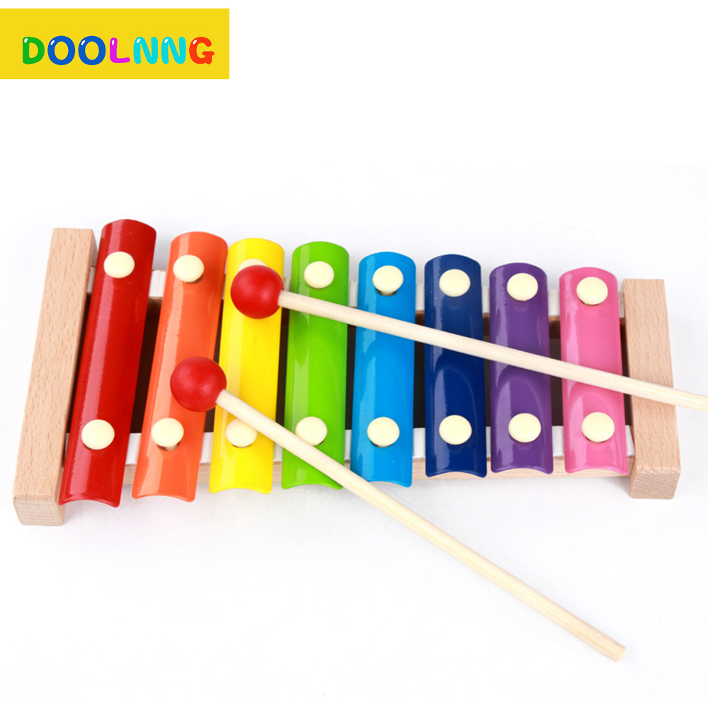 DOOLNNG Brand Wooden Beat 8pcs Tone Toy Piano Children Early Music Teaching Colourful Baby Knock Percussion Gift For Kids