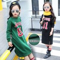 Girls Long Winter Wear Cashmere Cashmere Sweater Plus Thick Korean Fashion Kids Clothing Cotton Green Black