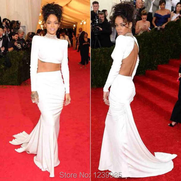 Rihanna Vestido Blanco 2017 Met Gala Vestido de Red Carpet Sirena Del  Vestido de Noche Vestido 13bba308a6f4