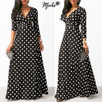 Женское длинное платье макси в богемном стиле с v-образным вырезом и рукавом три четверти в горошек, этническое летнее пляжное женское стиль...
