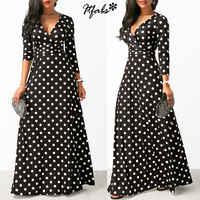 Women Long Maxi Dresses Bohemia V-neck Three Quarter Sleeve Dots Print Ethnic Summer Beach Female Stylish Style Dress