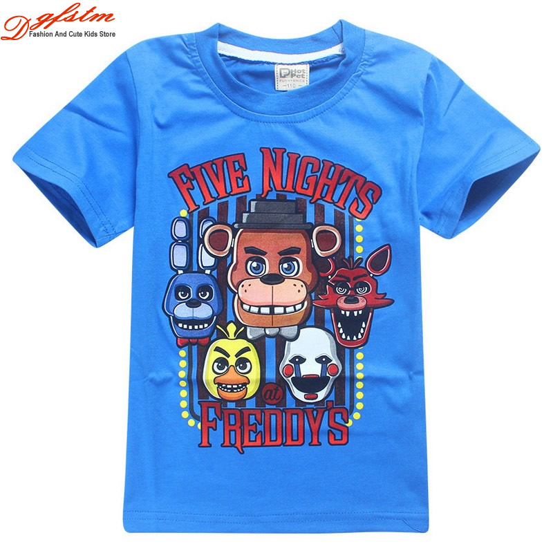 4 To 14Years Kids 100Cotton Childrens Day Kids Boys T-shirt Girls Tops Tees Cartoon five nights at freddys Tshirt Kids Clothes