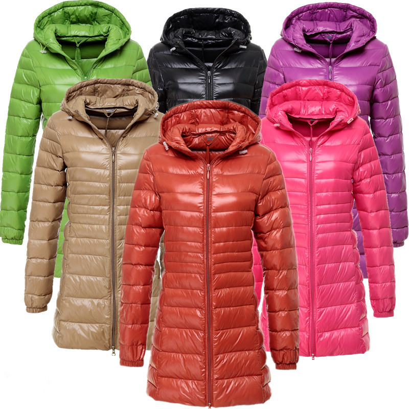 2017 new arrival autumn winter hooded slim long down jacket women slim ultra-thin weight light white duck down coat outerwear