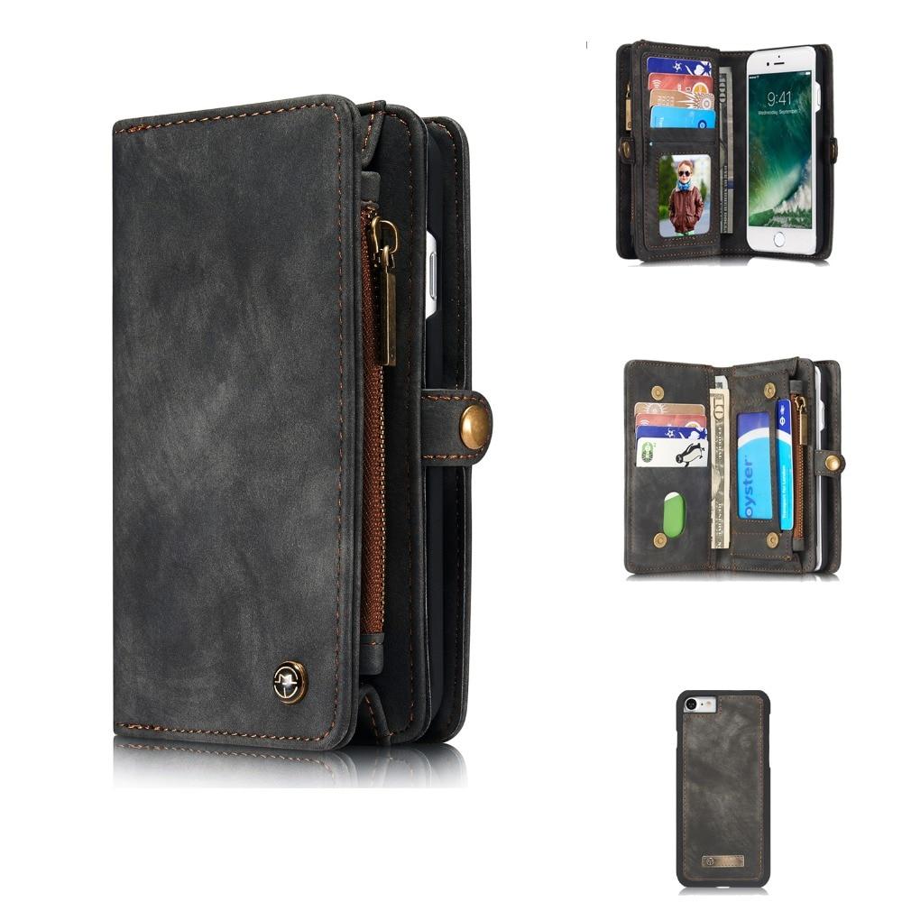 49e9ad897b5 Funda tipo billetera para iPhone 7 8 Plus Funda de cuero con tapa magnética  extraíble con ranuras para tarjetas KickStand para teléfono (2 en 1), ...