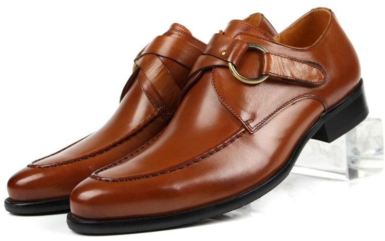 Didelis dydis EUR45 mada juoda / ruda vestuvių batai vyrams verslo batai natūralios odos suknelės batai su sagtimi