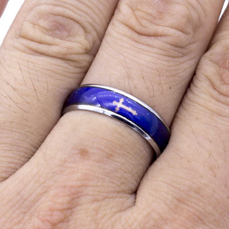 Gran oferta bien joyería de 6mm de ancho señor/Superman/cráneo/anillos clásico temperatura anillo que cambia color a los amantes de monástica budista