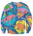 New Fashion Cute Cartoon Dinosaur 3D Sweatshirt Men Women Long Sleeve Outerwear Animal Lions/Cats/Panda Print Crewneck Pullovers