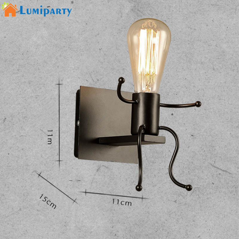 LumiParty E27 Modern Metal LED Wall Light Cartoon Robot Sconce Lighting Lamp for Indoor  ...