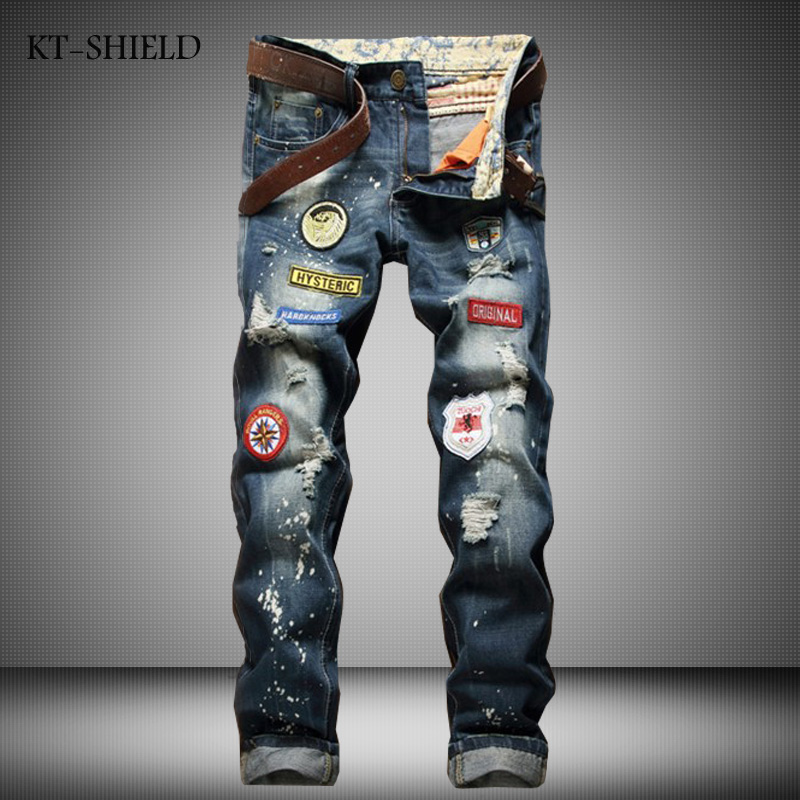 ripped distressed jean hombre slim fit denim overalls fashion mens biker Casual Hip hop long trousers calca jeans masculina mens casual elastic ripped drape denim hip hop slim fit distressed biker jeans pants black straight pencil trousers multi zipper