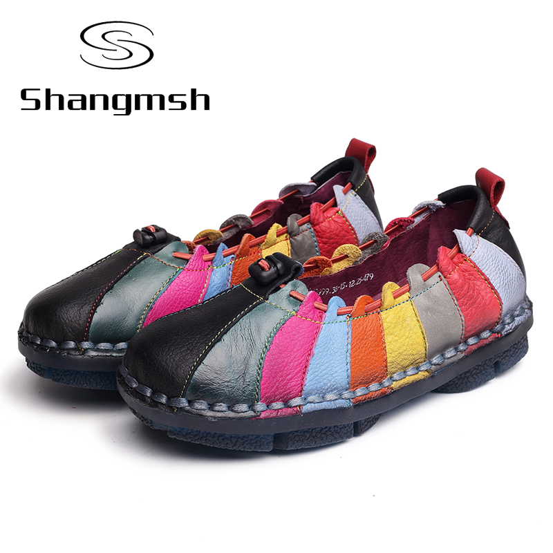 ФОТО Cow Muscle Ballet Shoes Summer Autumn Multicolor Women Genuine Leather Casual Shoes Woman Flat Flexible Nurse Peas Loafer Flats