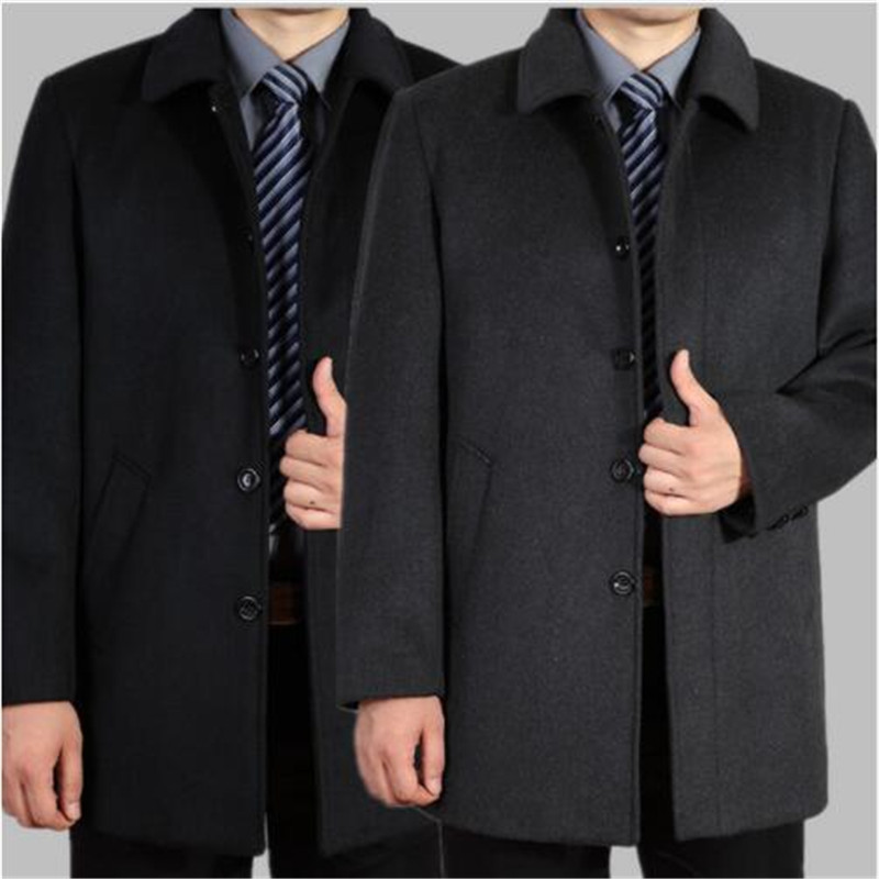 Wool Coat Winter Trench Male XL Men's Medium-Long Plus-Size Warm Outerwear Thickening