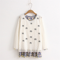 Autumn Women Fashion Japanese Style Lace Spliced Long Sleeve Dresses Fresh Cute Loose Flower Bow Embroidery