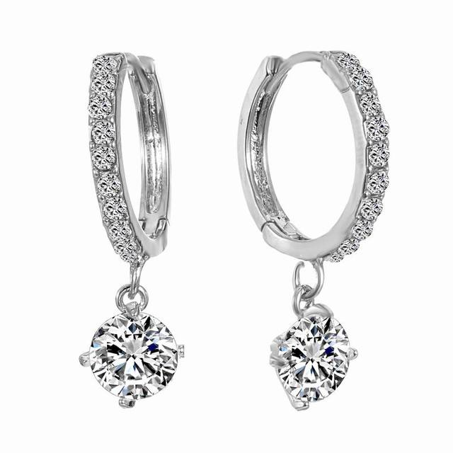 Earrings for Women Silver Color Clear Pink Stones Engagement Austrian Cubic Zirconia Hoop Earrings Fashion Jewelry Best Gift