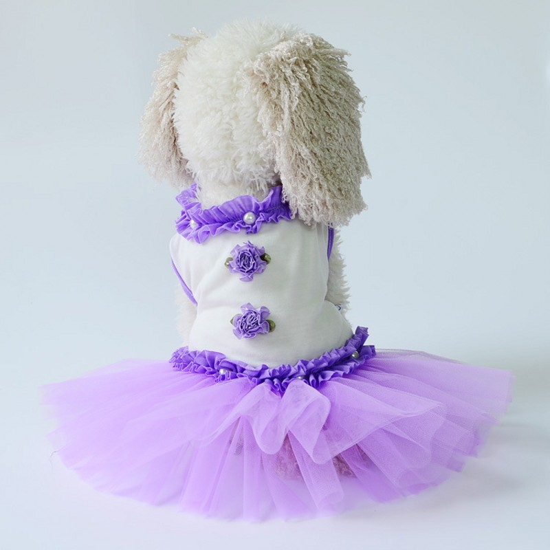 Hot Sale Fashion Dog Wedding Dress Lace Flower Dog Princess Dresses Pets Puppy Cute Skirt Pet Clothes Apparel Free Shipping
