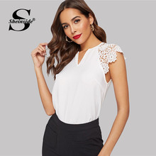 931d313606a Sheinside Elegant White Hollowed Out Guipure Lace Sleeve Blouse Women 2019  Summer Solid V Neck Minimalist Raglan Sleeve Blouses
