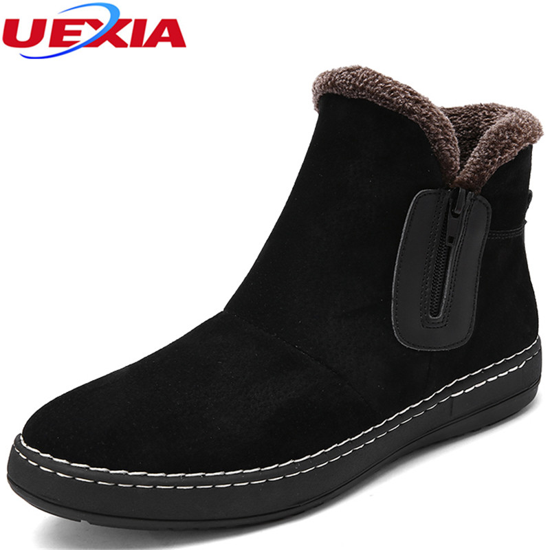 Winter Western Cowboy Ankle Martin Snow Boots Men Shoe Men Luxury Cow Suede Leather Warm Plush&Fur Work Safety Zipper Footwear