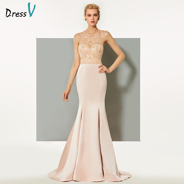 Dressv nude pink long evening dress elegant mermaid halter sweep ...