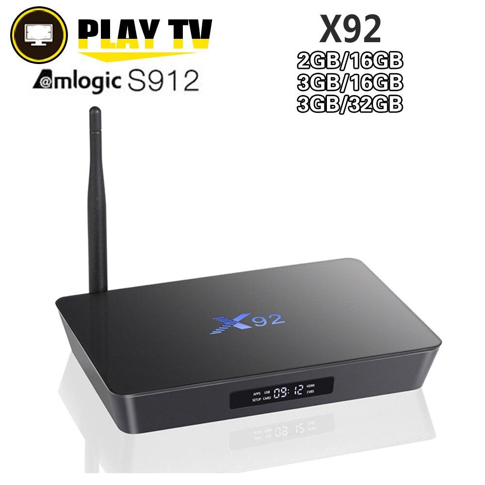 [Véritable] X92 3 gb/32 gb 3 gb/16 gb 2 gb/16 gb Android 7.1 Smart TV Box Amlogic S912 Octa Core CPU Entièrement Chargé 5g Wifi Set Top Box