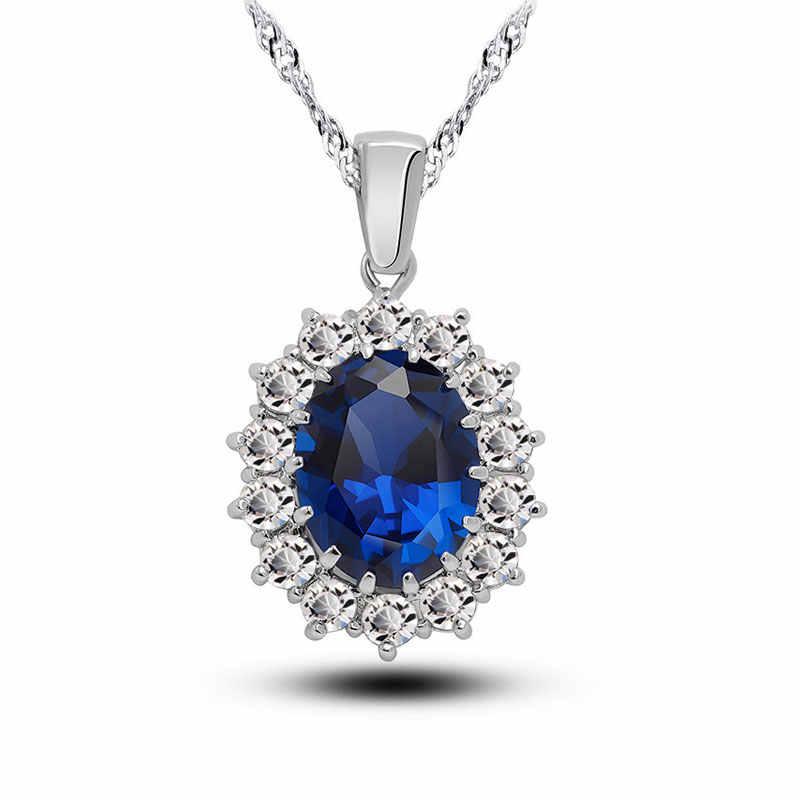 Braut Hochzeit Schmuck Sets Frauen Kristall 925 Sterling Silber Blau Cubic Zirkon Engagment Ohrringe Anhänger Halskette Set