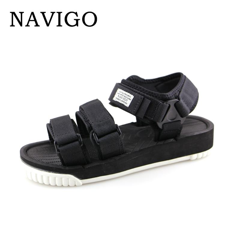 цена Navigo Sandals Mens Shoes Summer Black Sandals Men White Botton Shoes Breathable Sandals platform black men zapatos hombre