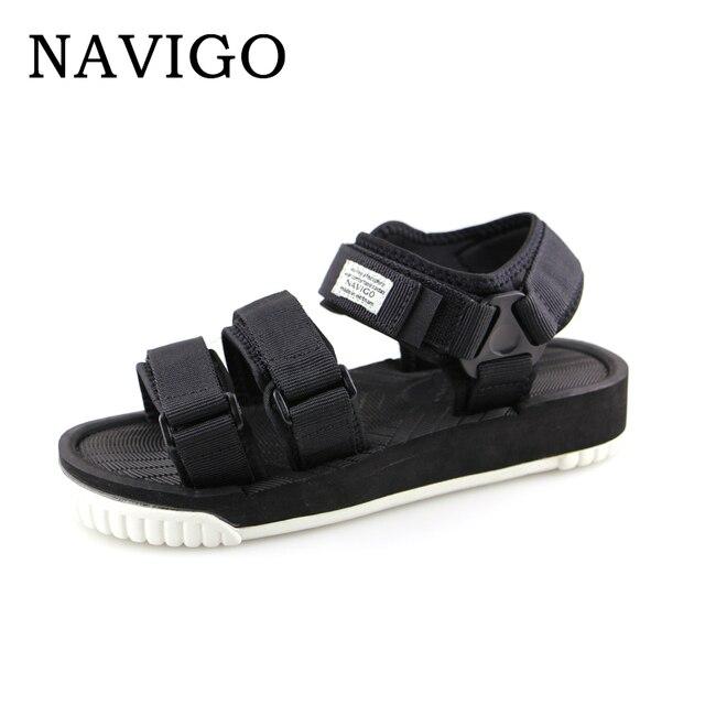 5e83e2e07d773f Navigo Sandals Mens Shoes Summer Black Sandals Men White Botton Shoes  Breathable Sandals platform black men zapatos hombre