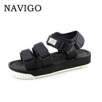 Navigo Sandals Mens Shoes Summer Black Sandals Men White Botton Shoes Breathable Sandals platform black men zapatos hombre