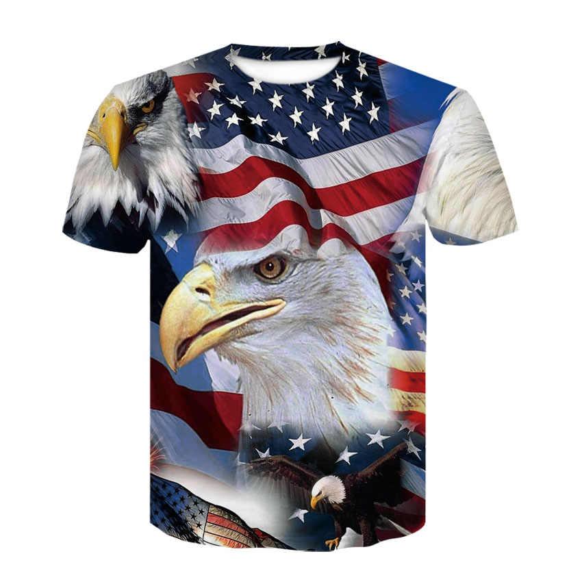2018 جديد USA العلم تي شيرت الرجال/النساء مثير ثلاثية الأبعاد التي شيرت طباعة مخطط العلم الأمريكي الرجال تي شيرت الصيف بلايز تيز