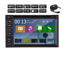 Camera + Double Din GPS Car DVD player in dash FM AM Radio Sub Stereo MP5 Receiver Navigator Touch Screen EQ PC Music 3D Map