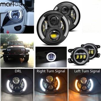 """Marloo Left Right Amber Turn Signal 7 Inch LED Headlights 4"""" LED Fog Light DRL Combo Kit For Jeep Wrangler JK 2007-2018"""