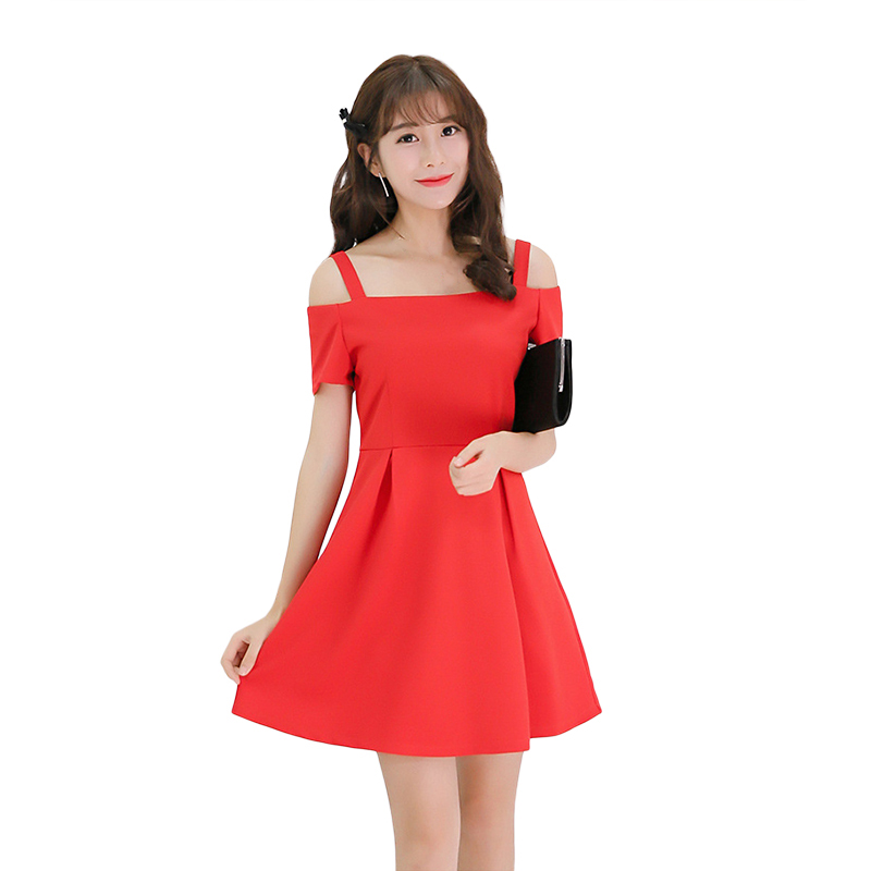 2018 Spring New Elegant Pleated Dresses Women Spaghetti Strap Drapped Flare Mini dress Sexy Solid Red Mini Dress Vestido