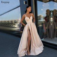 Длинные простое вечернее платье 2018 Сексуальная Милая Высокий разрез шампанское Атлас для женщин вечерние платья с карманом халат de soiree