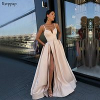 Long Simple Evening Dress 2018 Sexy Sweetheart High Slit Champagne Satin Women Formal Gowns With Pocket robe de soiree
