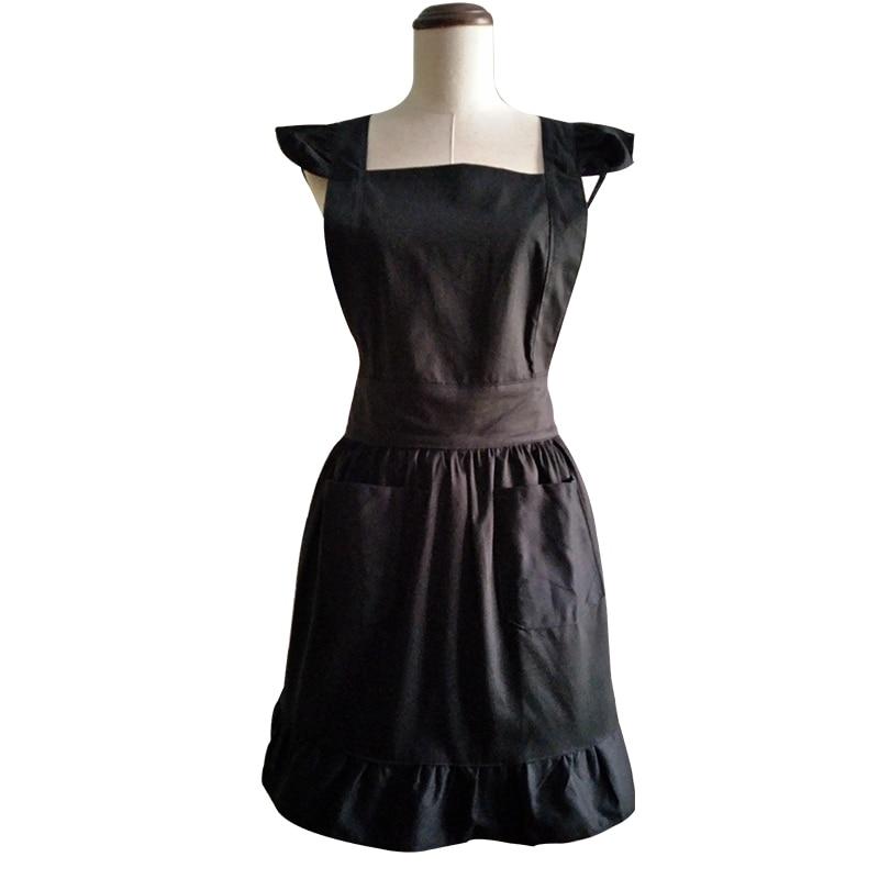 Küchenschürze Frau kocht schwarzer Baumwolle Lolita Cross Back - Haushaltswaren - Foto 3